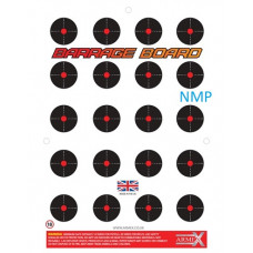 A twenty shot A4 sized flash & bang exploding air weapon target called THE BARRAGE BOARD from Armex