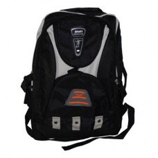 Black Sport style rucksack, back pack with a number of zips storage compartments and night warning orange light reflector